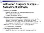 instruction program example assessment methods