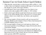 summer care for grade school aged children