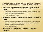 specific findings from teams cont