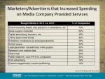 marketers advertisers that increased spending on media company provided services