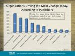 organizations driving the most change today according to publishers
