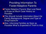 providing information to foster adoptive parents