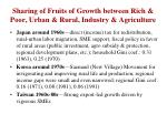 sharing of fruits of growth between rich poor urban rural industry agriculture