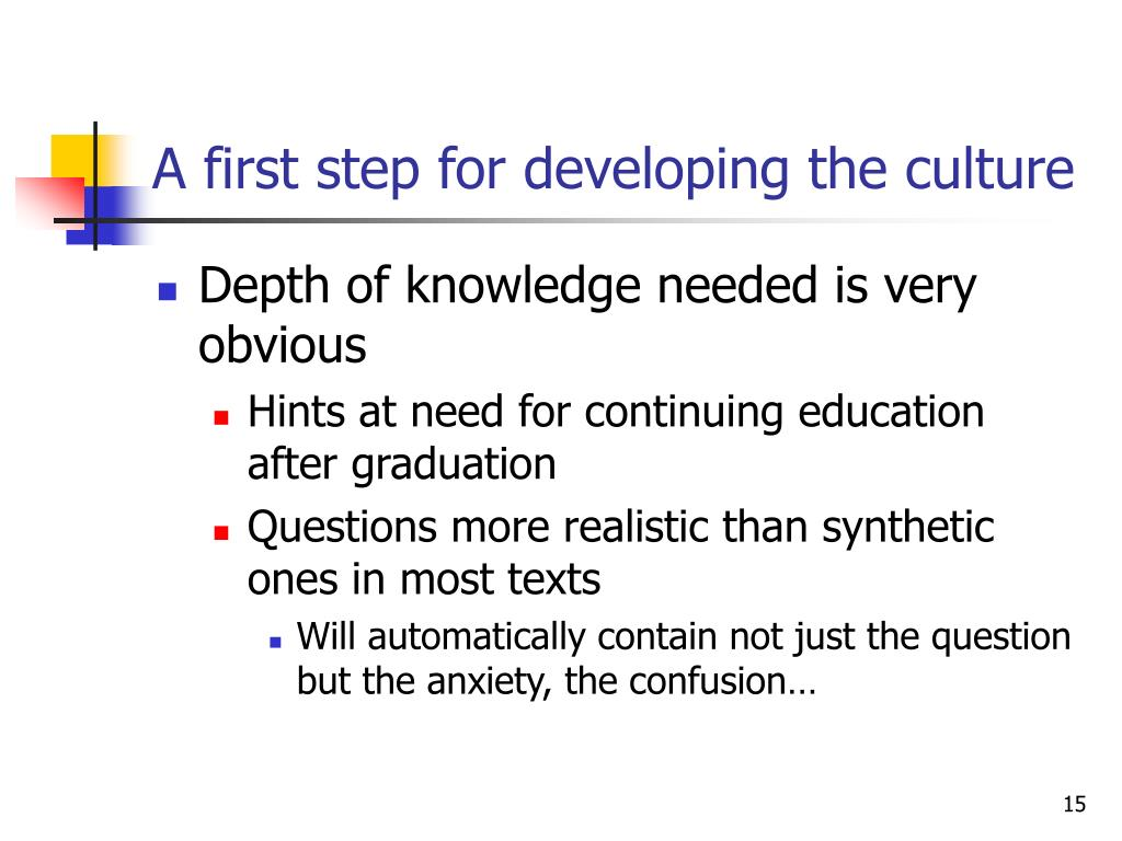 A first step for developing the culture