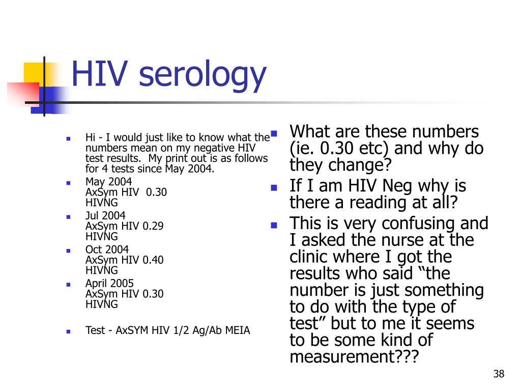 Hi - I would just like to know what the numbers mean on my negative HIV