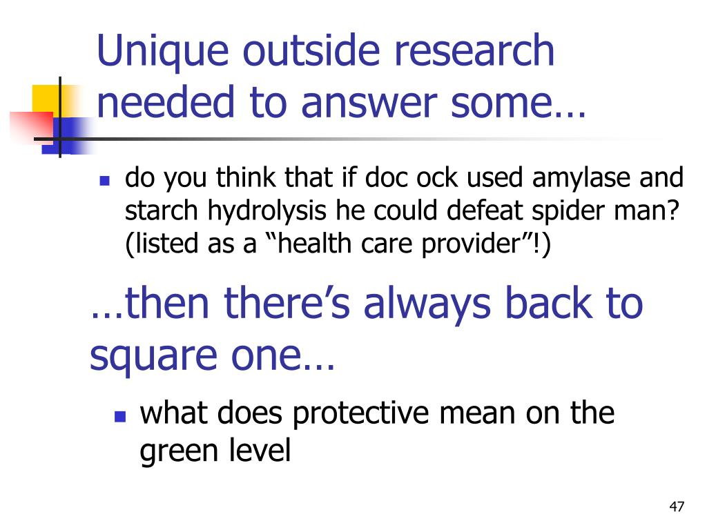 Unique outside research needed to answer some…