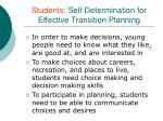 students self determination for effective transition planning