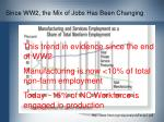 since ww2 the mix of jobs has been changing