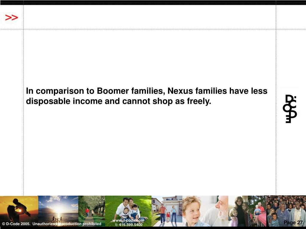 In comparison to Boomer families, Nexus families have less disposable income and cannot shop as freely.