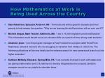 how mathematics at work is being used across the country