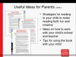 useful ideas for parents cont