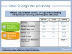 total savings per workload