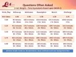 questions often asked visit weight time equivalents based upon oasis c