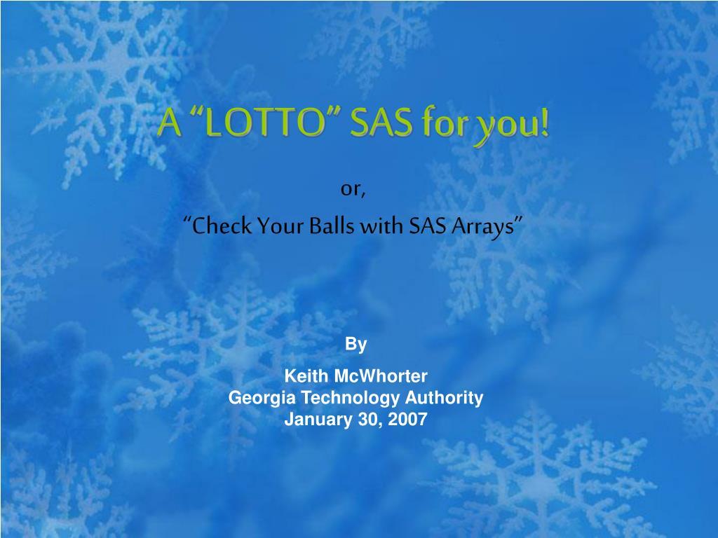 a lotto sas for you l.