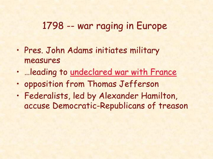 1798 war raging in europe