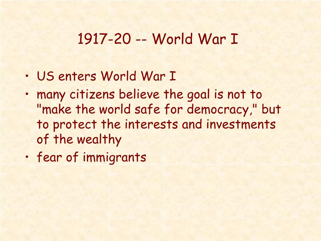 1917-20 -- World War I