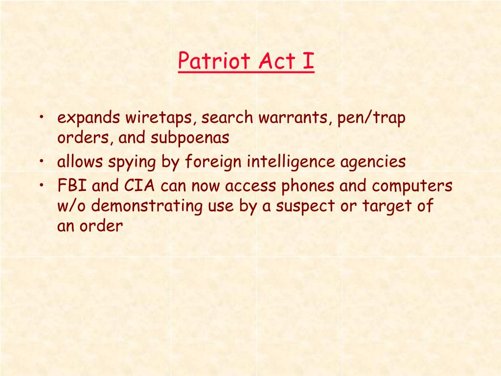Patriot Act I