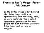 francisco redi s maggot farm 17th century