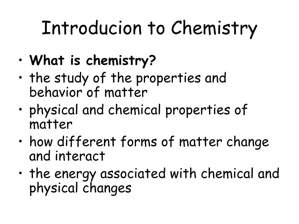 introducion to chemistry l.