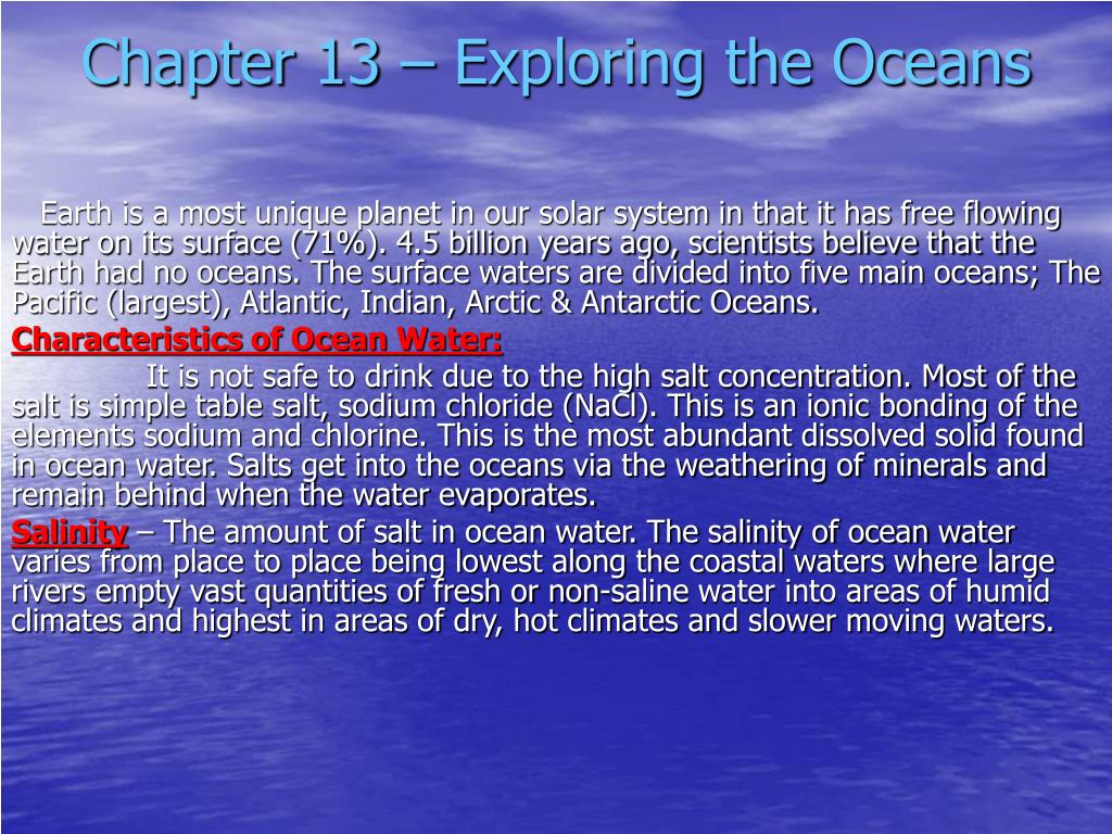 chapter 13 exploring the oceans l.