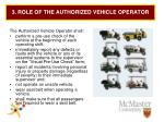 3 role of the authorized vehicle operator