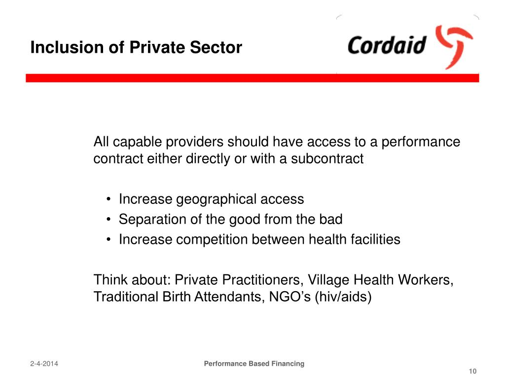 Inclusion of Private Sector