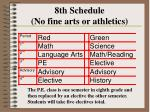 8th schedule no fine arts or athletics