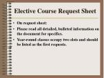 elective course request sheet