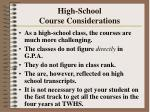 high school course considerations