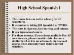 high school spanish i