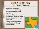 math note affecting hs math choices
