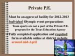 private p e