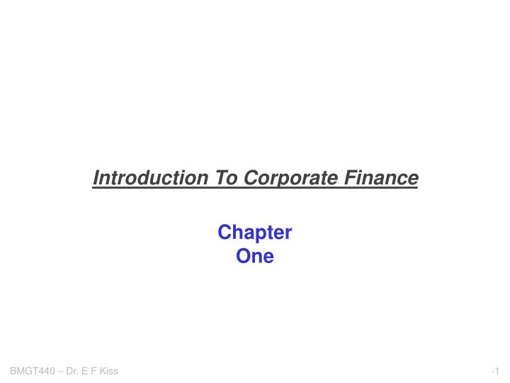 introduction to corporate finance n.