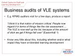 business audits of vle systems