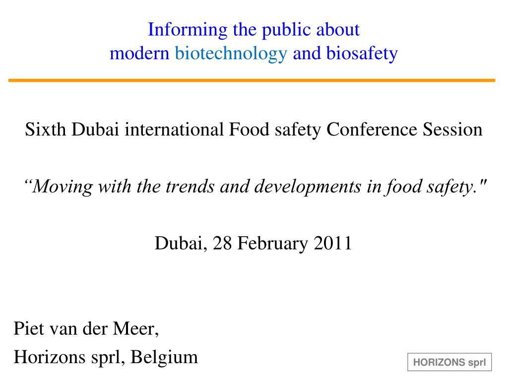 informing the public about modern biotechnology and biosafety l.