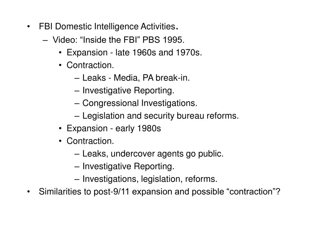 FBI Domestic Intelligence Activities