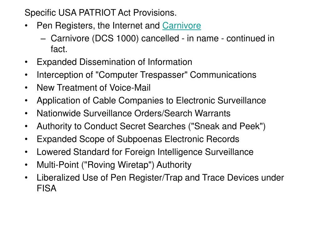 Specific USA PATRIOT Act Provisions.