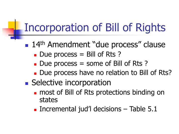 Incorporation of bill of rights