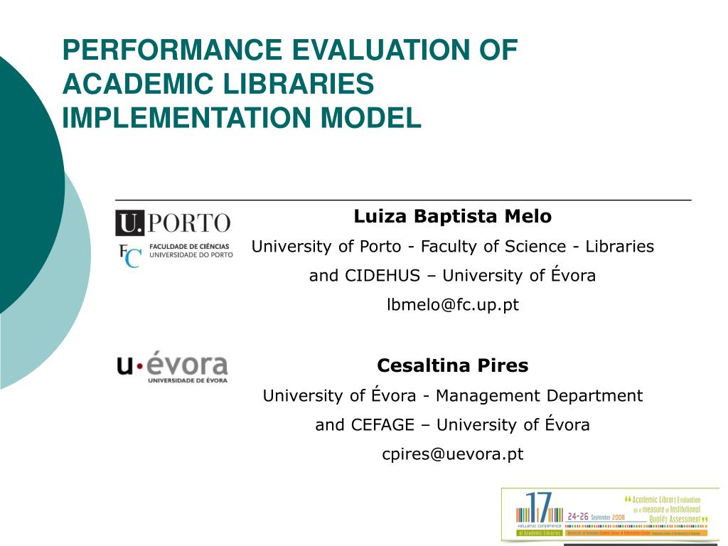 performance evaluation of academic libraries implementation model l.
