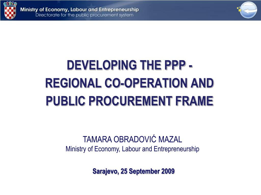 developing the ppp regional co operation and public procurement frame l.