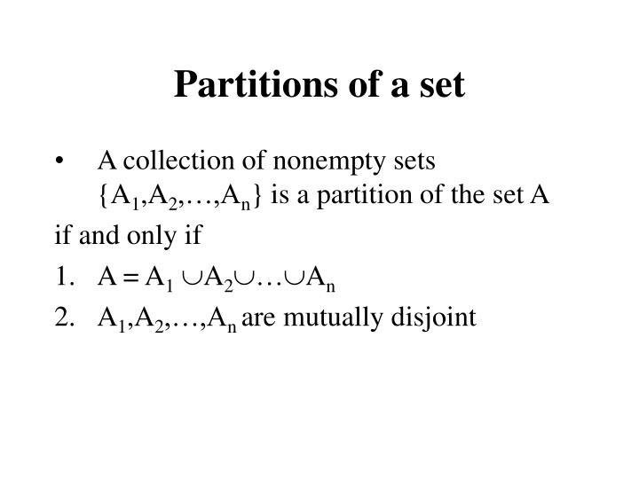 Partitions of a set