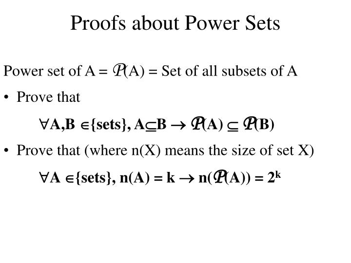 Proofs about Power Sets