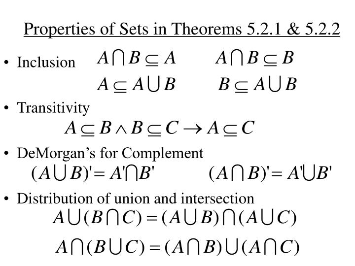 Properties of Sets in Theorems 5.2.1 & 5.2.2