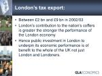 london s tax export