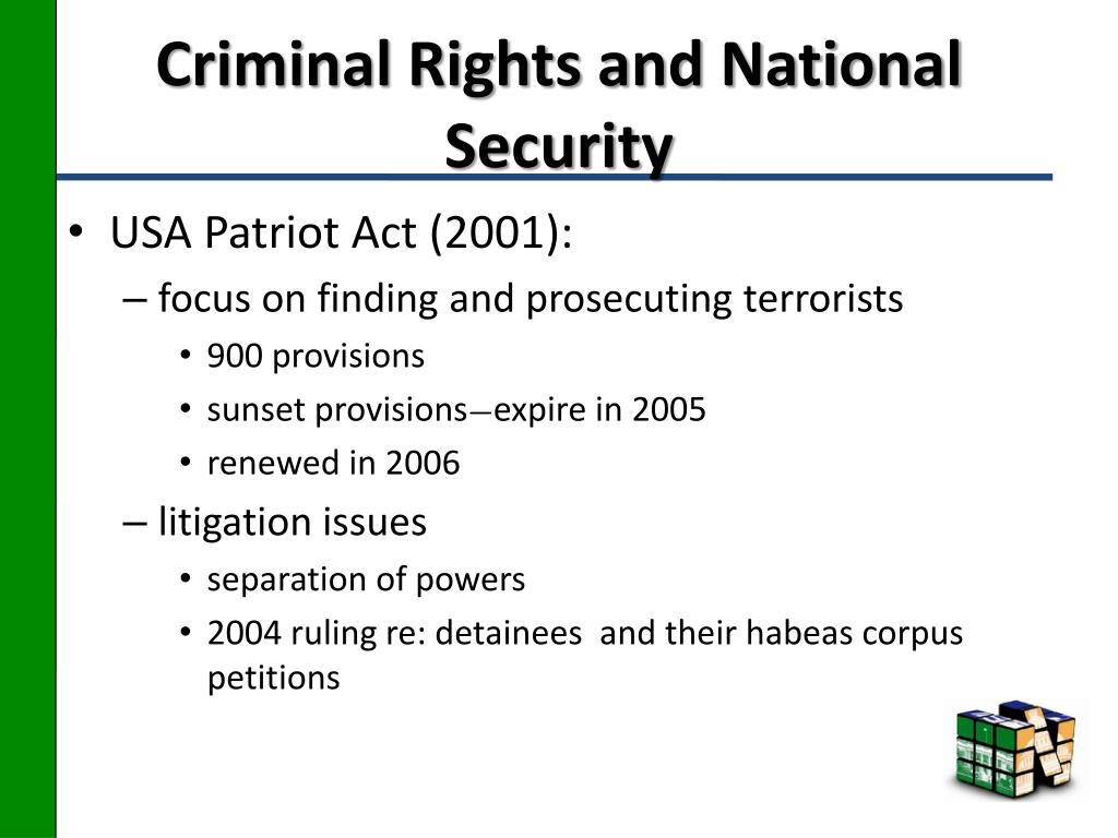 Criminal Rights and National Security