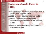 evolution of audit focus in cida