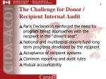 the challenge for donor recipient internal audit