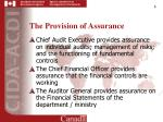 the provision of assurance