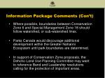 information package comments con t