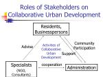 roles of stakeholders on collaborative urban development